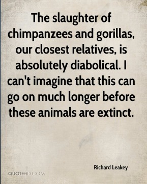 Richard Leakey  - The slaughter of chimpanzees and gorillas, our closest relatives, is absolutely diabolical. I can't imagine that this can go on much longer before these animals are extinct.