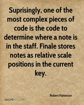 Robert Patterson - Suprisingly, one of the most complex pieces of code is the code to determine where a note is in the staff. Finale stores notes as relative scale positions in the current key.