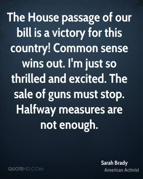 Sarah Brady - The House passage of our bill is a victory for this country! Common sense wins out. I'm just so thrilled and excited. The sale of guns must stop. Halfway measures are not enough.