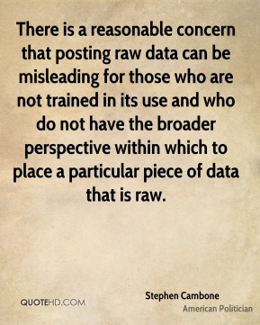 Stephen Cambone - There is a reasonable concern that posting raw data can be misleading for those who are not trained in its use and who do not have the broader perspective within which to place a particular piece of data that is raw.
