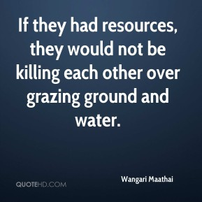 Wangari Maathai  - If they had resources, they would not be killing each other over grazing ground and water.