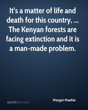 It's a matter of life and death for this country, ... The Kenyan forests are facing extinction and it is a man-made problem.