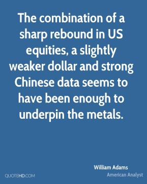 The combination of a sharp rebound in US equities, a slightly weaker dollar and strong Chinese data seems to have been enough to underpin the metals.