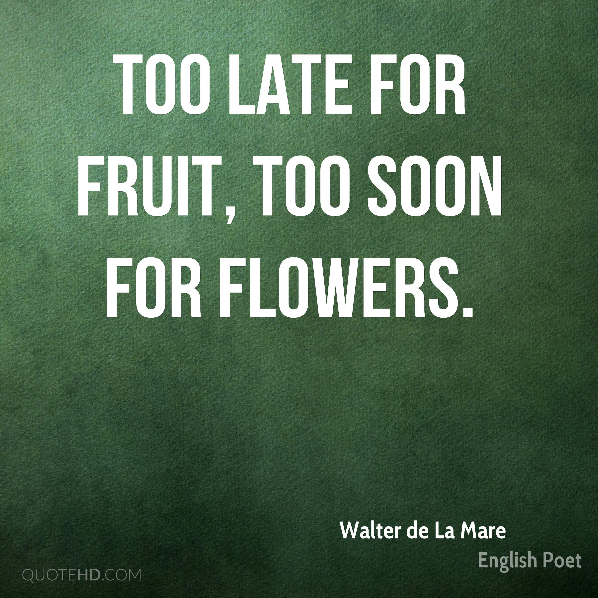 Too late for fruit, too soon for flowers.