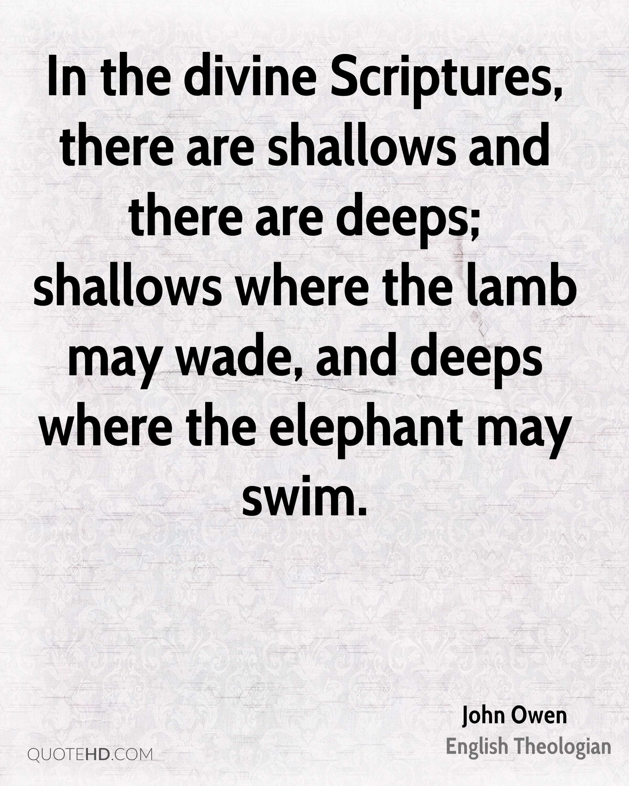 In the divine Scriptures, there are shallows and there are deeps; shallows where the lamb may wade, and deeps where the elephant may swim.