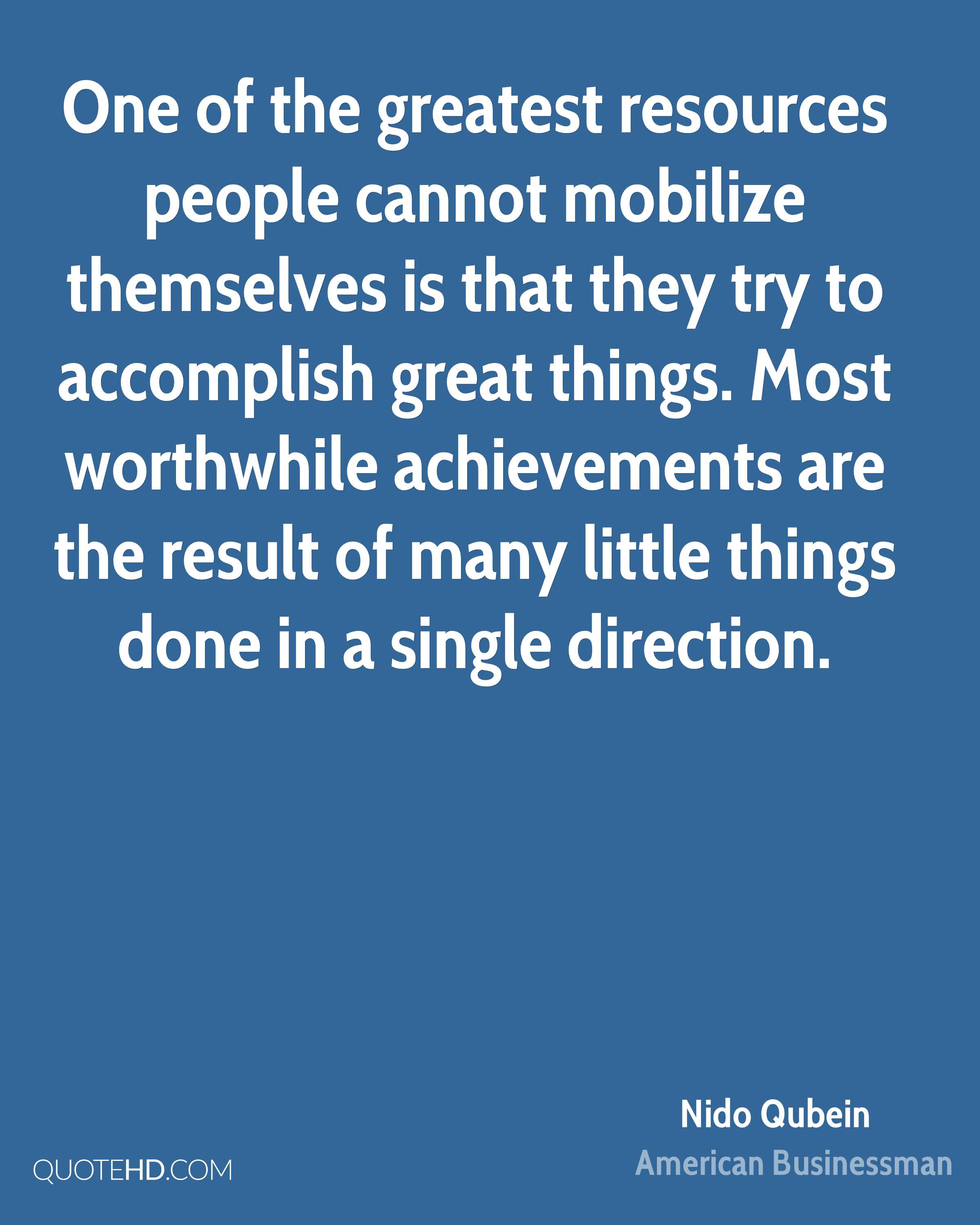 nido qubein quotes quotehd one of the greatest resources people cannot mobilize themselves is that they try to accomplish great