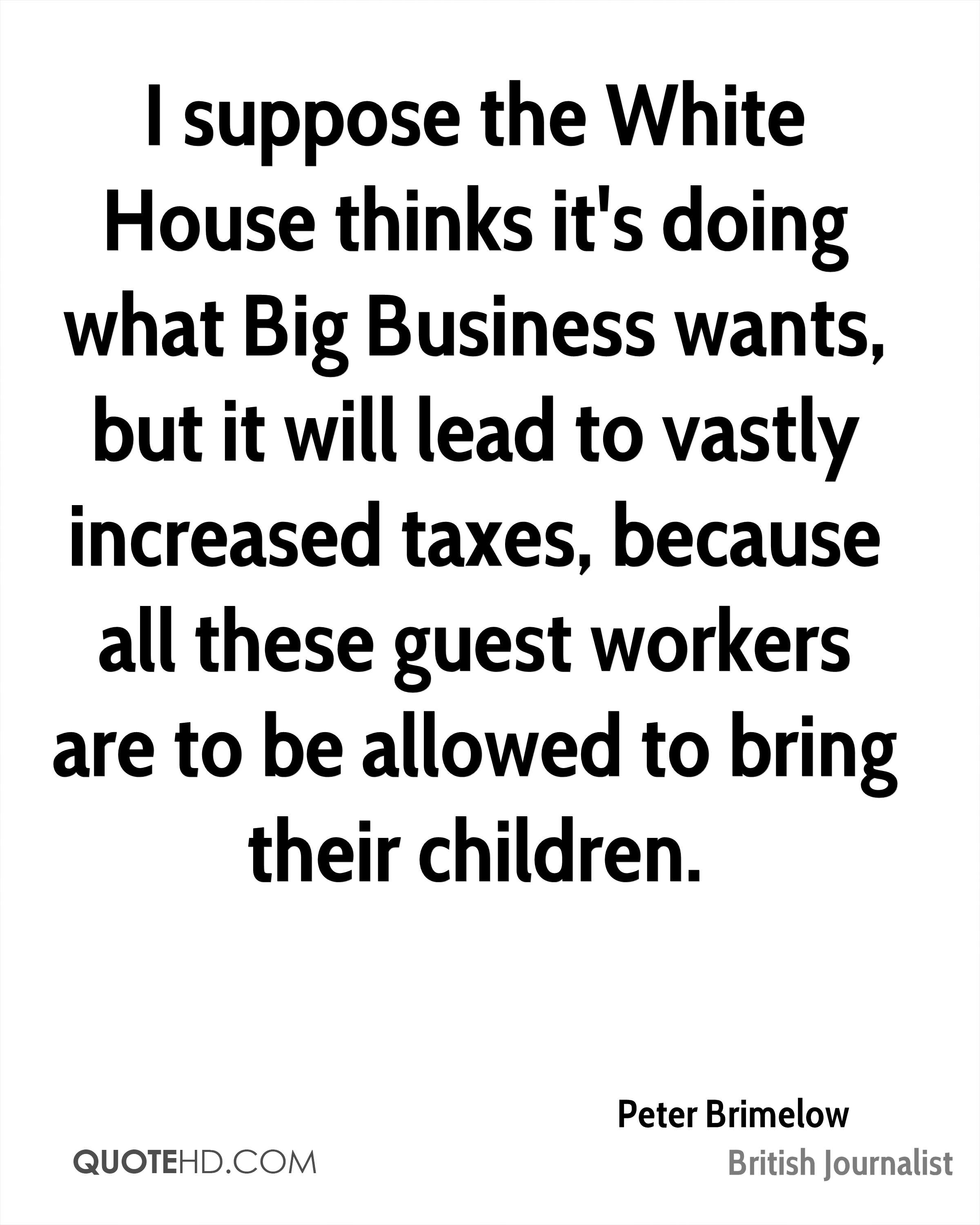 I suppose the White House thinks it's doing what Big Business wants, but it will lead to vastly increased taxes, because all these guest workers are to be allowed to bring their children.