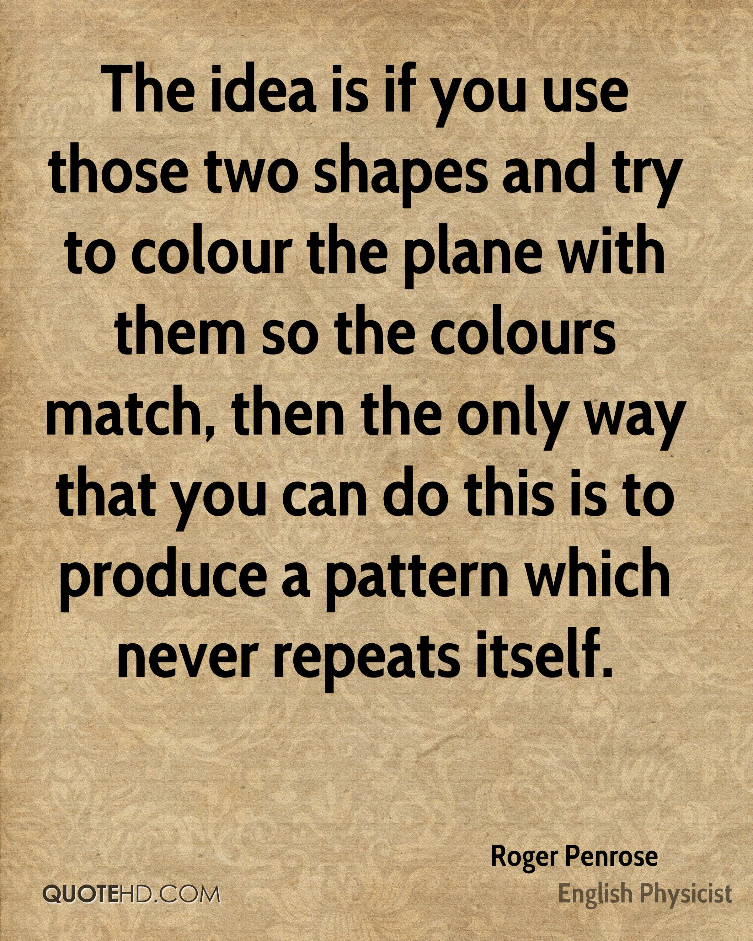 The idea is if you use those two shapes and try to colour the plane with them so the colours match, then the only way that you can do this is to produce a pattern which never repeats itself.