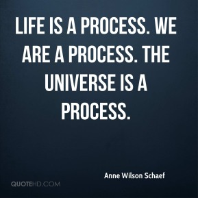 Anne Wilson Schaef - Life is a process. We are a process. The universe is a process.