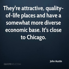 They're attractive, quality-of-life places and have a somewhat more diverse economic base. It's close to Chicago.