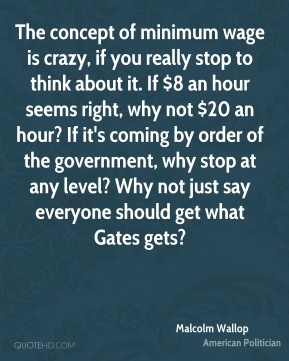 The concept of minimum wage is crazy, if you really stop to think about it. If $8 an hour seems right, why not $20 an hour? If it's coming by order of the government, why stop at any level? Why not just say everyone should get what Gates gets?