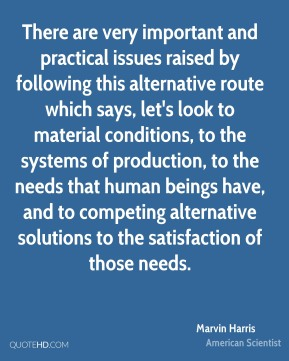 There are very important and practical issues raised by following this alternative route which says, let's look to material conditions, to the systems of production, to the needs that human beings have, and to competing alternative solutions to the satisfaction of those needs.