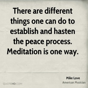 Mike Love - There are different things one can do to establish and hasten the peace process. Meditation is one way.