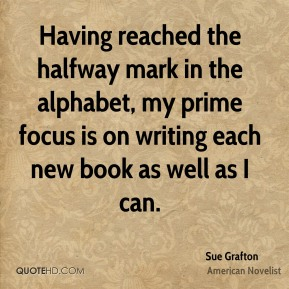 Having reached the halfway mark in the alphabet, my prime focus is on writing each new book as well as I can.