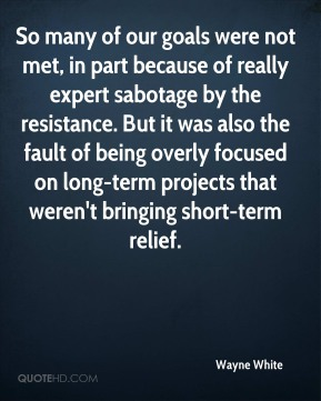 Wayne White  - So many of our goals were not met, in part because of really expert sabotage by the resistance. But it was also the fault of being overly focused on long-term projects that weren't bringing short-term relief.