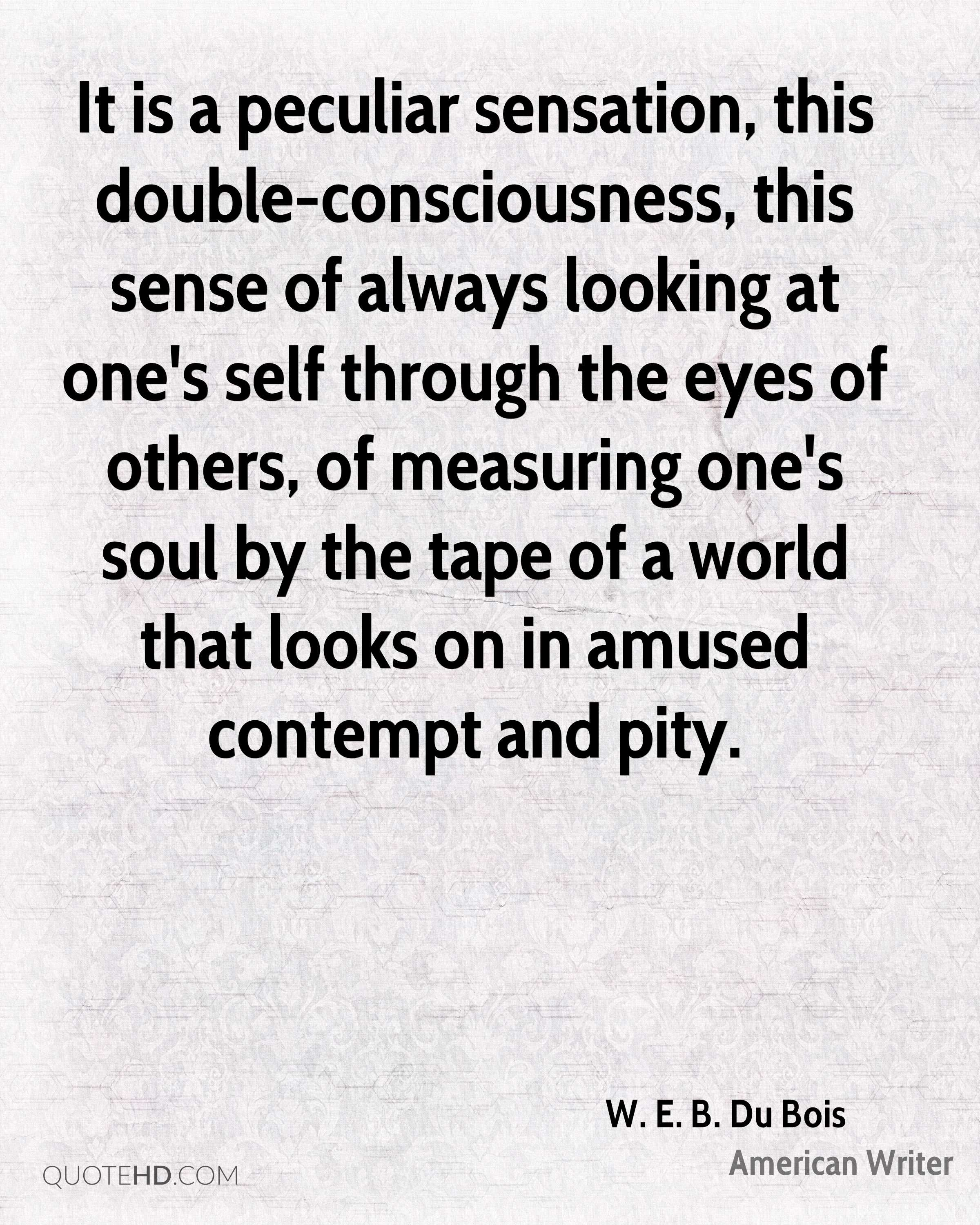 It is a peculiar sensation, this double-consciousness, this sense of always looking at one's self through the eyes of others, of measuring one's soul by the tape of a world that looks on in amused contempt and pity.