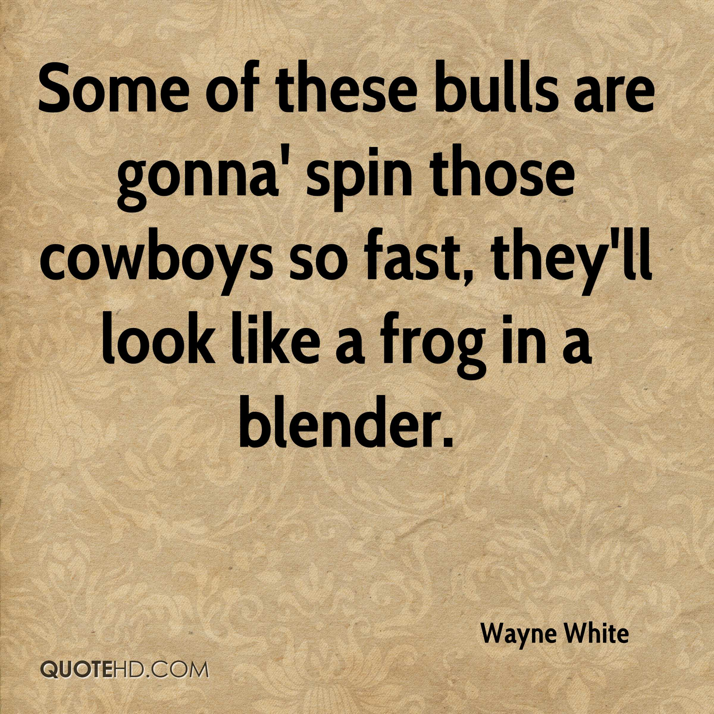 Some of these bulls are gonna' spin those cowboys so fast, they'll look like a frog in a blender.