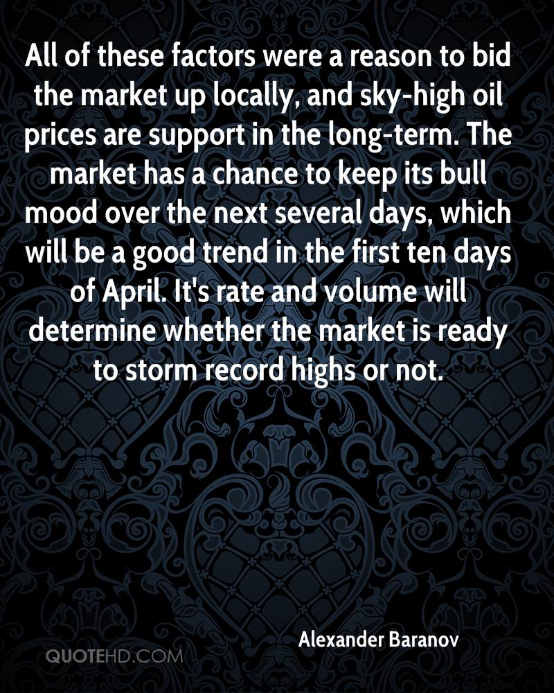 All of these factors were a reason to bid the market up locally, and sky-high oil prices are support in the long-term. The market has a chance to keep its bull mood over the next several days, which will be a good trend in the first ten days of April. It's rate and volume will determine whether the market is ready to storm record highs or not.