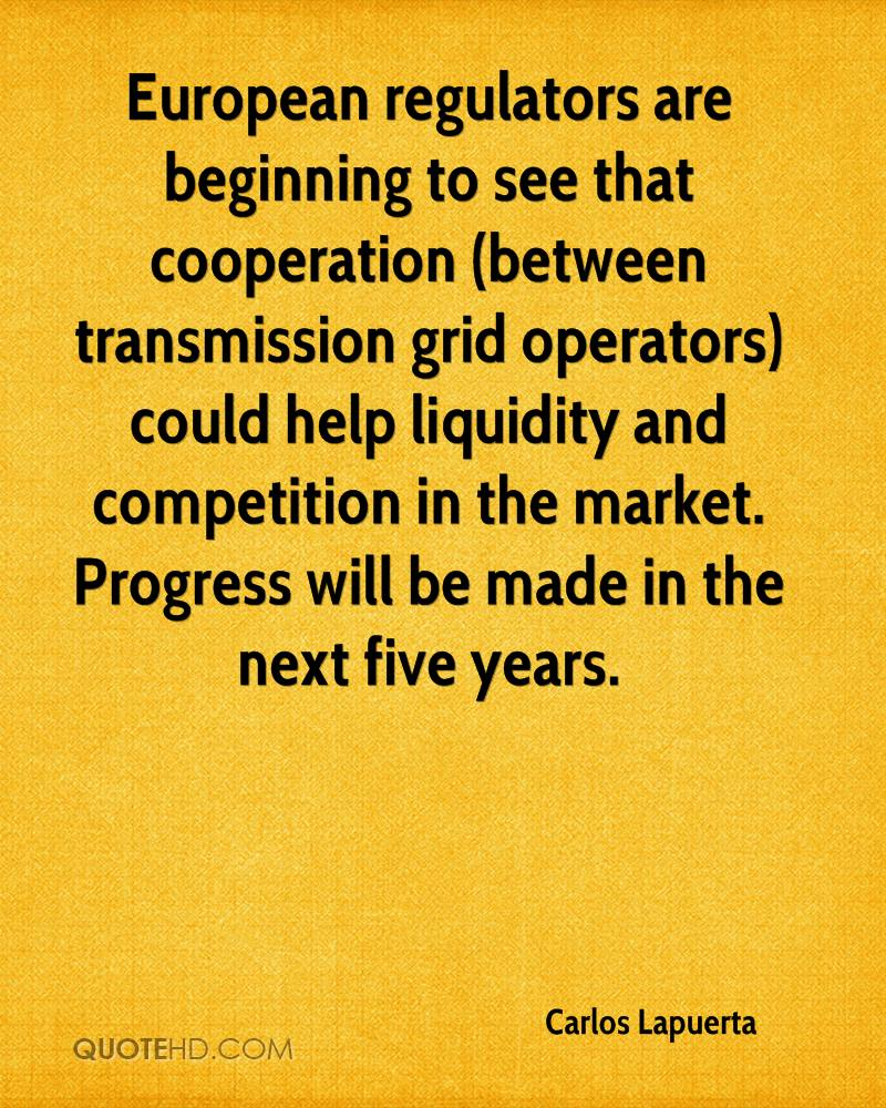 European regulators are beginning to see that cooperation (between transmission grid operators) could help liquidity and competition in the market. Progress will be made in the next five years.