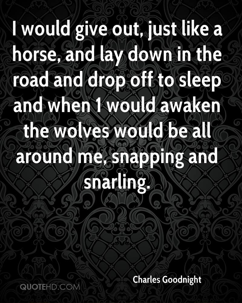 I would give out, just like a horse, and lay down in the road and drop off to sleep and when 1 would awaken the wolves would be all around me, snapping and snarling.