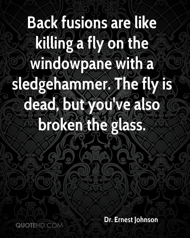 Back fusions are like killing a fly on the windowpane with a sledgehammer. The fly is dead, but you've also broken the glass.