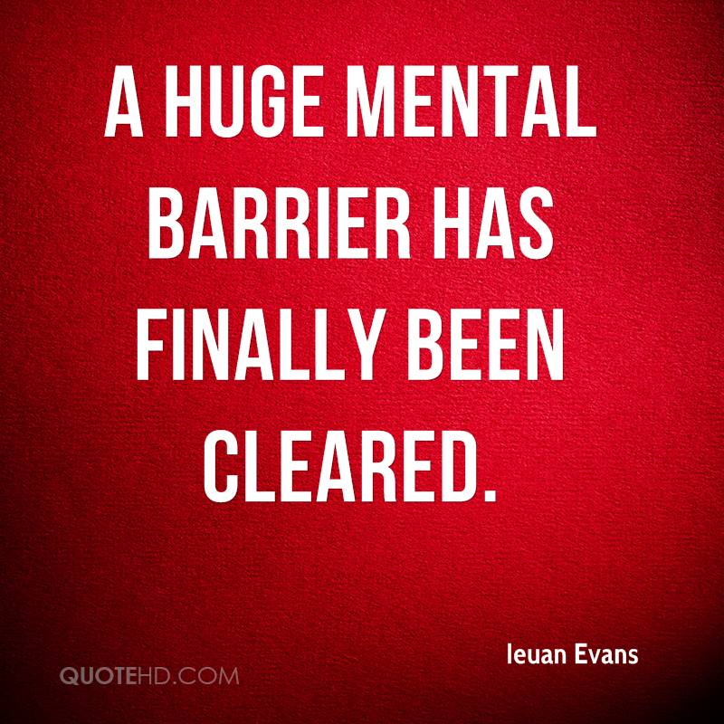 A huge mental barrier has finally been cleared.