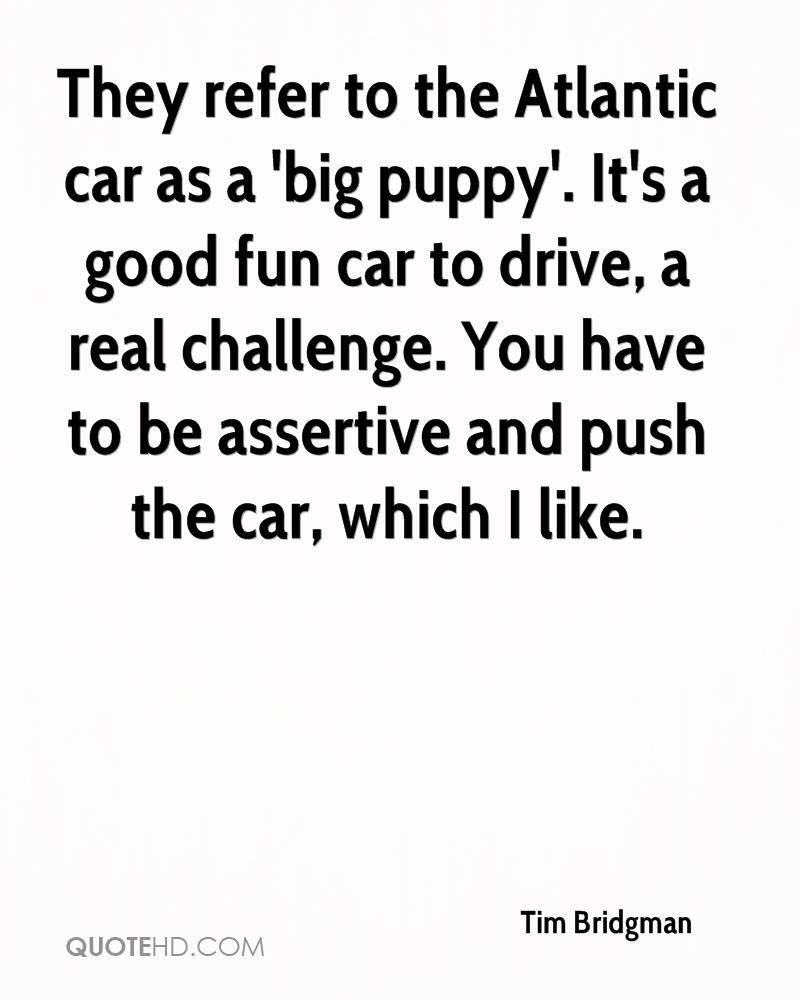They refer to the Atlantic car as a 'big puppy'. It's a good fun car to drive, a real challenge. You have to be assertive and push the car, which I like.