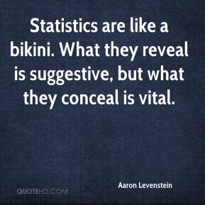 Aaron Levenstein - Statistics are like a bikini. What they reveal is suggestive, but what they conceal is vital.