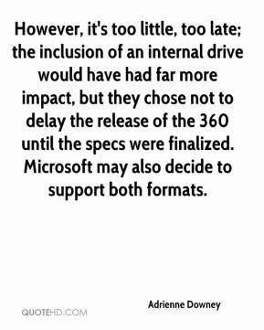 Adrienne Downey - However, it's too little, too late; the inclusion of an internal drive would have had far more impact, but they chose not to delay the release of the 360 until the specs were finalized. Microsoft may also decide to support both formats.