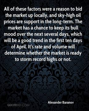 Alexander Baranov - All of these factors were a reason to bid the market up locally, and sky-high oil prices are support in the long-term. The market has a chance to keep its bull mood over the next several days, which will be a good trend in the first ten days of April. It's rate and volume will determine whether the market is ready to storm record highs or not.