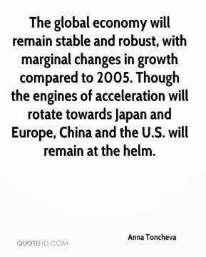 Anna Toncheva - The global economy will remain stable and robust, with marginal changes in growth compared to 2005. Though the engines of acceleration will rotate towards Japan and Europe, China and the U.S. will remain at the helm.