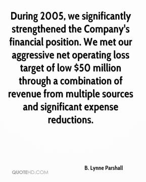 During 2005, we significantly strengthened the Company's financial position. We met our aggressive net operating loss target of low $50 million through a combination of revenue from multiple sources and significant expense reductions.