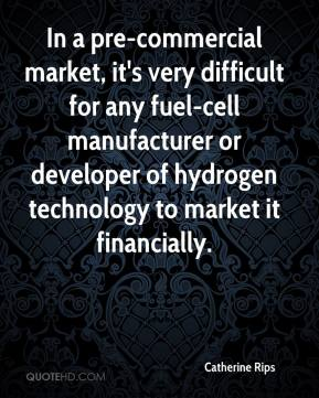 Catherine Rips - In a pre-commercial market, it's very difficult for any fuel-cell manufacturer or developer of hydrogen technology to market it financially.