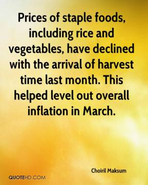 Choiril Maksum - Prices of staple foods, including rice and vegetables, have declined with the arrival of harvest time last month. This helped level out overall inflation in March.