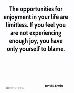 David E. Bresler - The opportunities for enjoyment in your life are limitless. If you feel you are not experiencing enough joy, you have only yourself to blame.