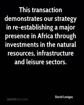 David Lenigas - This transaction demonstrates our strategy in re-establishing a major presence in Africa through investments in the natural resources, infrastructure and leisure sectors.