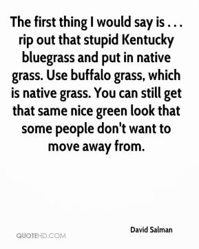 David Salman - The first thing I would say is . . . rip out that stupid Kentucky bluegrass and put in native grass. Use buffalo grass, which is native grass. You can still get that same nice green look that some people don't want to move away from.
