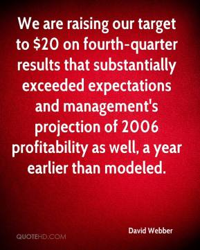David Webber - We are raising our target to $20 on fourth-quarter results that substantially exceeded expectations and management's projection of 2006 profitability as well, a year earlier than modeled.