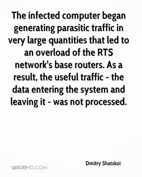 Dmitry Shatskoi - The infected computer began generating parasitic traffic in very large quantities that led to an overload of the RTS network's base routers. As a result, the useful traffic - the data entering the system and leaving it - was not processed.