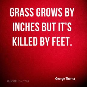 George Thoma - Grass grows by inches but it's killed by feet.