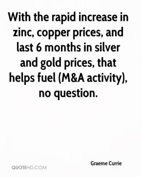Graeme Currie - With the rapid increase in zinc, copper prices, and last 6 months in silver and gold prices, that helps fuel (M&A activity), no question.