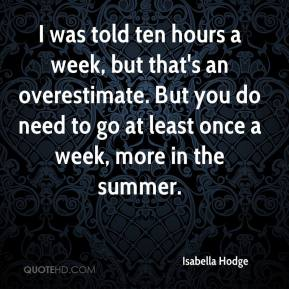 Isabella Hodge - I was told ten hours a week, but that's an overestimate. But you do need to go at least once a week, more in the summer.