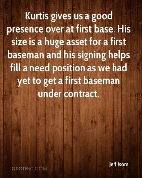 Jeff Isom  - Kurtis gives us a good presence over at first base. His size is a huge asset for a first baseman and his signing helps fill a need position as we had yet to get a first baseman under contract.