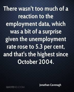 Jonathan Cavenagh  - There wasn't too much of a reaction to the employment data, which was a bit of a surprise given the unemployment rate rose to 5.3 per cent, and that's the highest since October 2004.