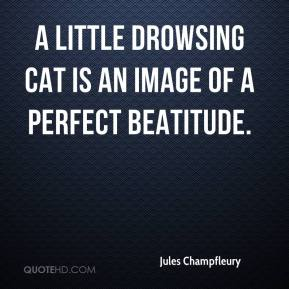 Jules Champfleury  - A little drowsing cat is an image of a perfect beatitude.