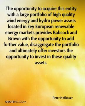 Peter Hofbauer  - The opportunity to acquire this entity with a large portfolio of high quality wind energy and hydro power assets located in key European renewable energy markets provides Babcock and Brown with the opportunity to add further value, disaggregate the portfolio and ultimately offer investors the opportunity to invest in these quality assets.