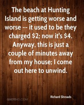 Richard Shroads  - The beach at Hunting Island is getting worse and worse -- it used to be they charged $2; now it's $4. Anyway, this is just a couple of minutes away from my house; I come out here to unwind.