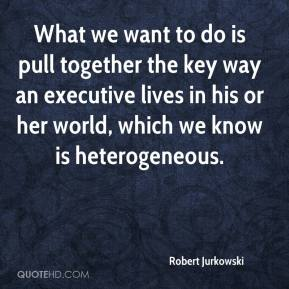 Robert Jurkowski  - What we want to do is pull together the key way an executive lives in his or her world, which we know is heterogeneous.