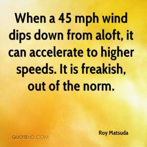Roy Matsuda  - When a 45 mph wind dips down from aloft, it can accelerate to higher speeds. It is freakish, out of the norm.