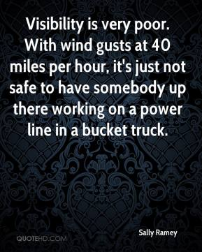 Sally Ramey  - Visibility is very poor. With wind gusts at 40 miles per hour, it's just not safe to have somebody up there working on a power line in a bucket truck.